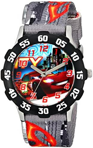 Disney Kids' W001591 Tween Cars Lightning McQueen Stainless Steel Watch, Printed Nylon Band
